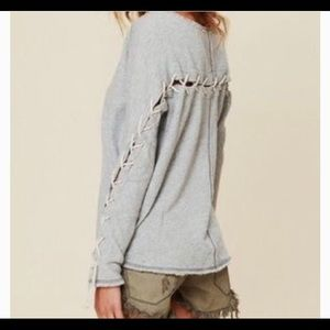 Free People Lace Up Rope Sweatshirt Top